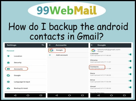 How do I backup the android contacts in Gmail?