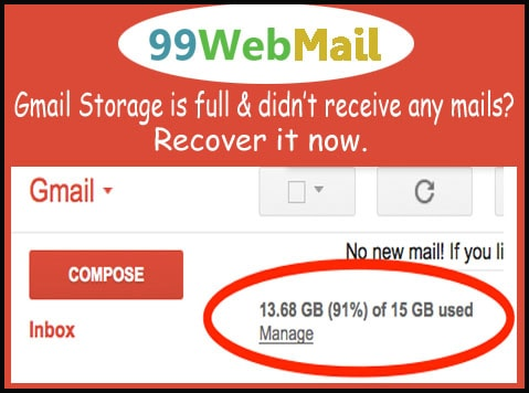 Gmail Storage is full & didn't receive any mails?