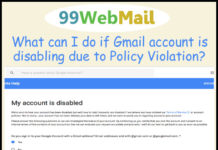 What can I do if Gmail account is disabling due to Policy Violation?
