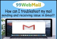 How can I troubleshoot my mail sending and receiving issue in Gmail?