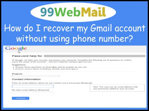 How do I recover my Gmail account without using phone number?