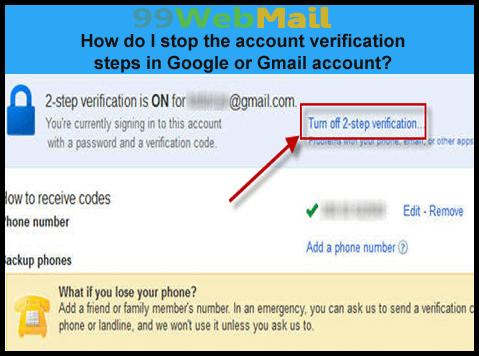 How do I stop the account verification steps in Google or